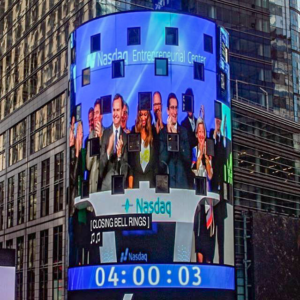President Simon and Lisa Getzler, Executive Director of the Baker Institute, ring the closing bell at the Nasdaq closing bell ceremony on Wednesday, Sept. 28, 2016, in California. Lehigh and Nasdaq have recently collaborated in an academic partnership. (Courtesy of John D. Simon's Instagram)