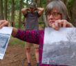 Christine Roysdon, the director of Library Collections and Scholarly Communications, presents photos of the deforestation that occurred in the early 20th century at Lehigh's Lost Forest on Tuesday, Sept. 20, 2016. Lehigh's Lost Forest was built to combat forest loss in Pennsylvania. (Danielle Bettermann/B&W Staff)
