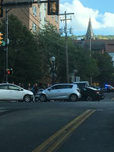 Two cars collided at the intersection of South New Street and Fourth Street around 5 p.m. A Lehigh student was the driver of one of the vehicles involved. (Lauryn Ragone/B&W Staff)
