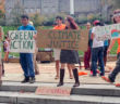 Members of the Green Action club hold a rally last Thursday on the front lawn. Green Action wants Lehigh University to divest from fossil fuel companies and instead invest in renewable energy companies. (Courtesy of the Green Action Facebook page)