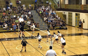 """The Lehigh men's lacrosse team and its """"date night"""" guests watch as the women's volleyball team plays vs. Lafayette Wednesday, Sept. 21, 2016 at Grace Hall. The date night is one of the ways Lehigh's athletes support their fellow Mountain Hawks. (Courtesy of @LehighLacrosse)"""
