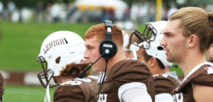 Senior quarterback Nick Shafnisky stands on the sidelines during Lehigh's game against Colgate University on Oct. 8 at Goodman Stadium. Shafnisky, along with sophomore quarterback Brad Mayes, has led the Mountain Hawks to a 6-2 overall record this season. (Erik Thomas/B&W Staff)