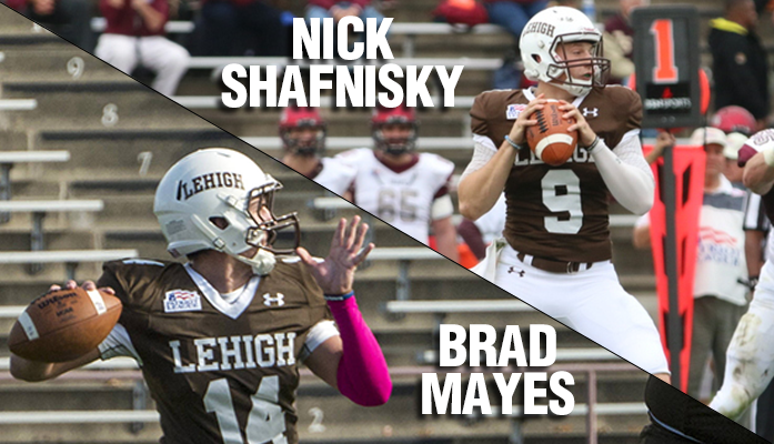 Senior Nick Shafnisky and sophomore Brad Mayes have split Lehigh's eight quarterback starts this season, leading the football team to a 6-2 overall record. The duo has combined for 26 passing touchdowns this season. (Designed by Kelly McCoy)