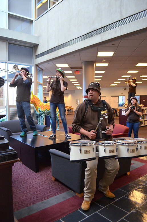 The Marching 97 plays their music on Friday, Nov. 18, in Fairchild-Martindale Library. The marching band played their many fight songs in anticipation of the big rivalry Lehigh-Lafayette football game. (Delaney McCaffrey/B&W Staff)