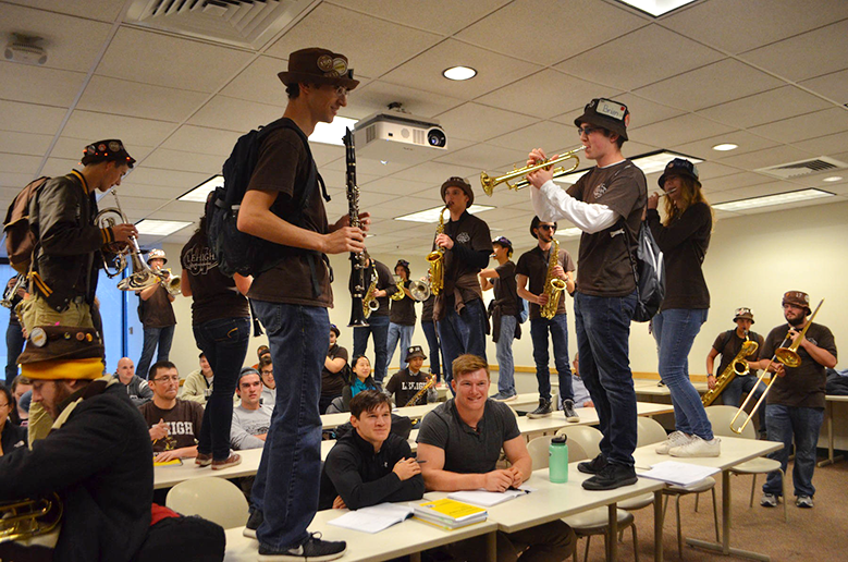 The marching band invades a class on Friday, Nov. 18, 2016 in Maginnes Hall. As per tradition, the Marching 97 plays their music all over campus the day before the big Lehigh-Lafayette football game. (Delaney McCaffrey/B&W Staff)