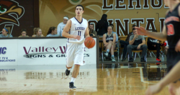 Freshman guard Jordan Cohen scans the court as he dribbles at Stabler Arena against Yale on Sunday, Nov. 20, 2016. Jordan had a dominant game with 6 assists and 20 points, including three shots made from downtown. The Lehigh men's basketball team defeated Yale 76 to 67, capturing their first win of the season. (Dallas Basha/B&W Staff)