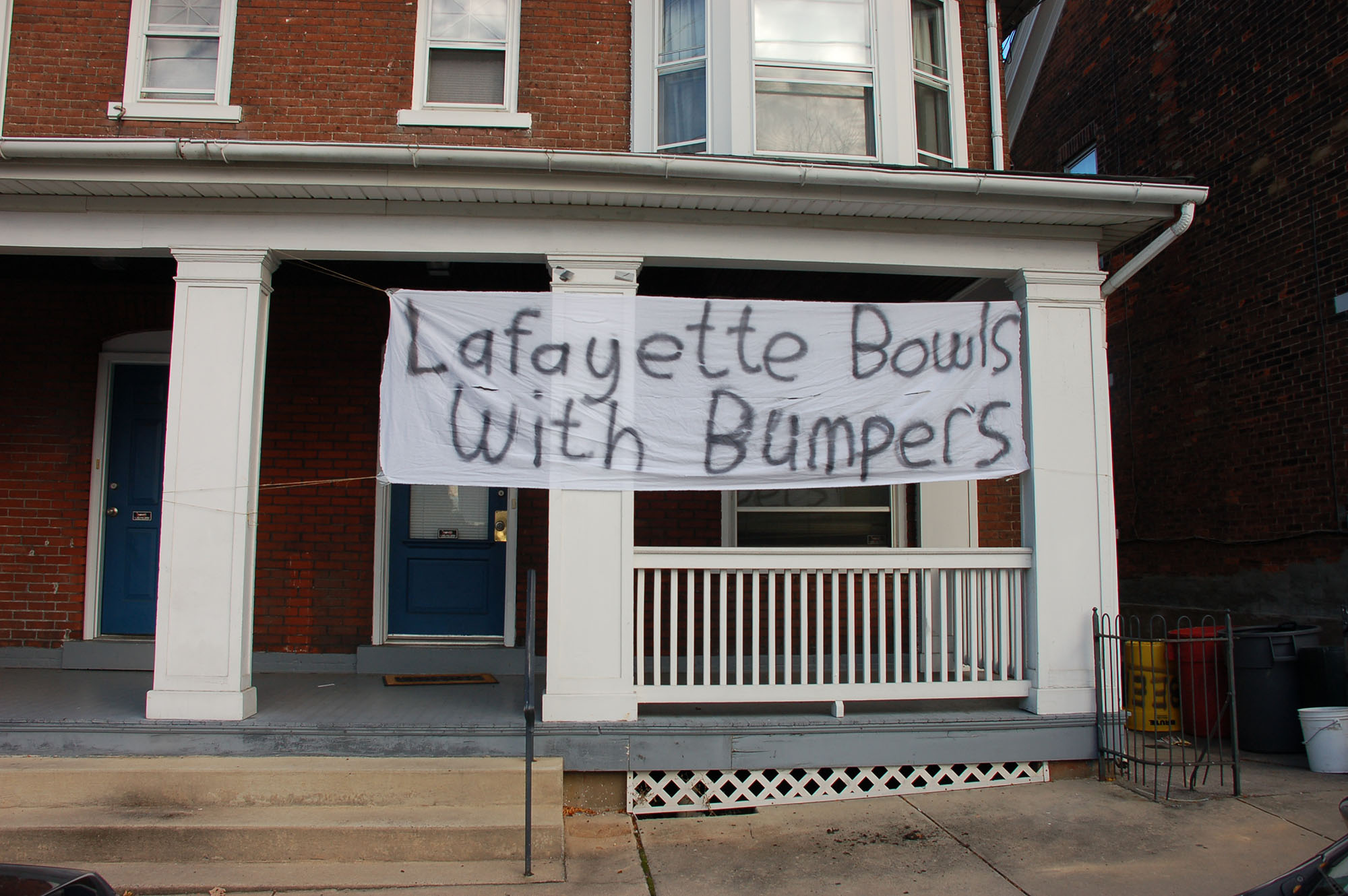 "A sign reading ""Lafayette bowls with bumpers"" hangs on a house on Webster Street on Nov. 15, 2016. The banners are part of the several traditions on campus during Lehigh-Lafayette week. (Samantha Tomaszewski/B&W Staff)"