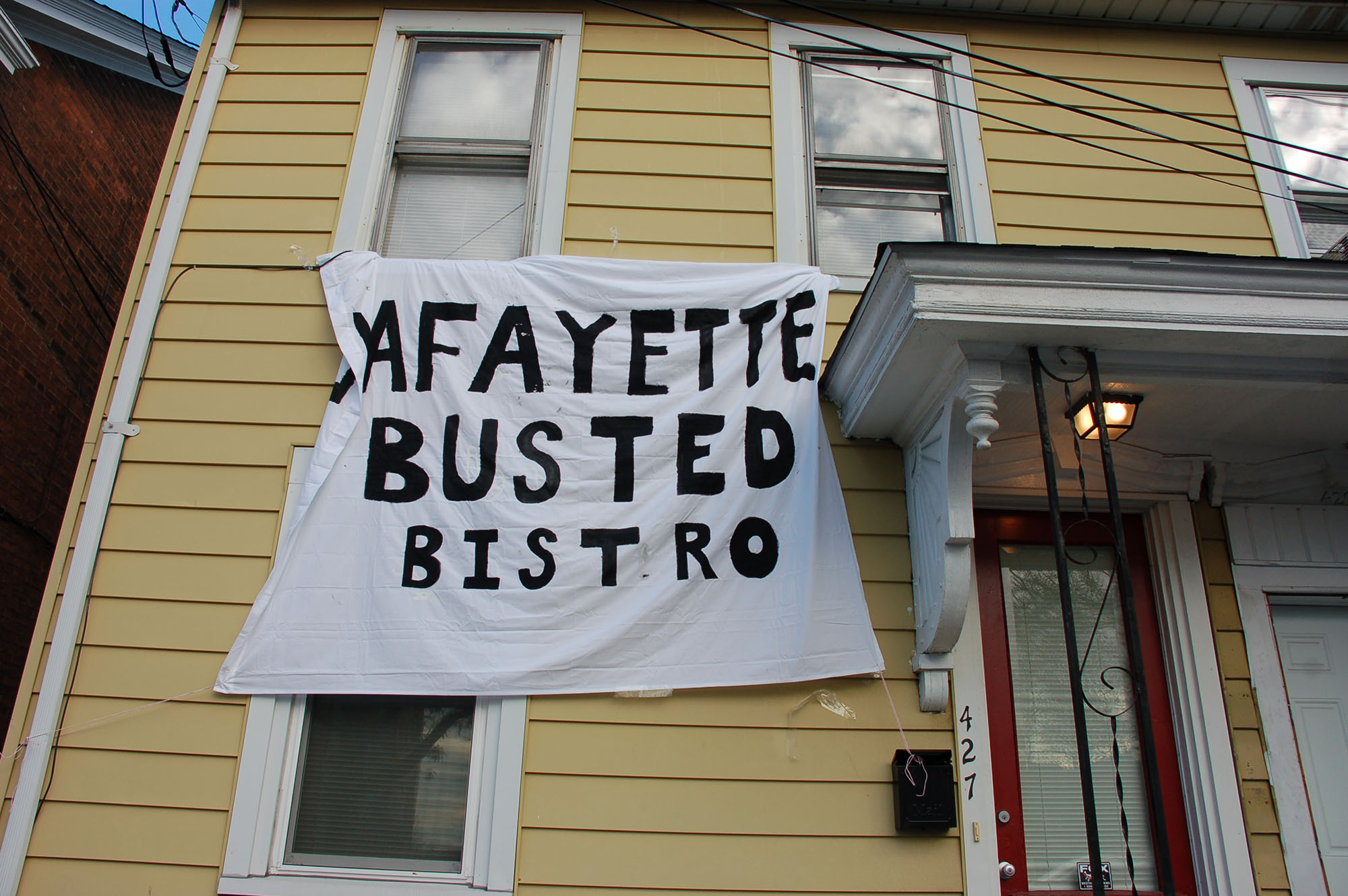 "A sign reading ""Lafayette busted bistro"" hangs on a house on Webster Street on Nov. 15, 2016. The sign is a reference to the Bethlehem restaurant 24 East Asian Bistro. (Samantha Tomaszewski/B&W Staff)"