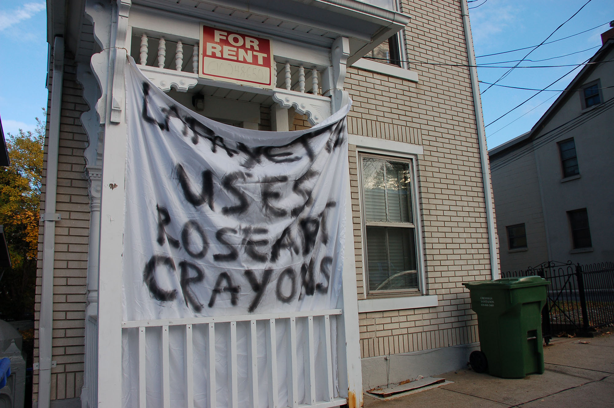 "A sign reading ""Lafayette uses RoseArt crayons"" hangs on a house on Webster Street on Nov. 15, 2016. Lehigh students come up with jokes about its rival, Lafayette, during spirit week. (Samantha Tomaszewski/B&W Staff)"