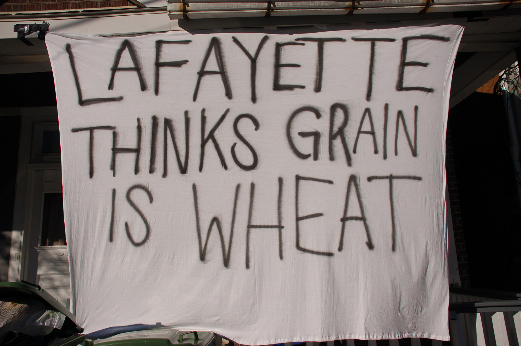 "A sign reading ""Lafayette thinks grain is wheat"" hangs on a house on East Fifth Street on Nov. 18, 2016. Lehigh students call a type of mixed drink ""grain."" (Gaby Morera/B&W Staff)"