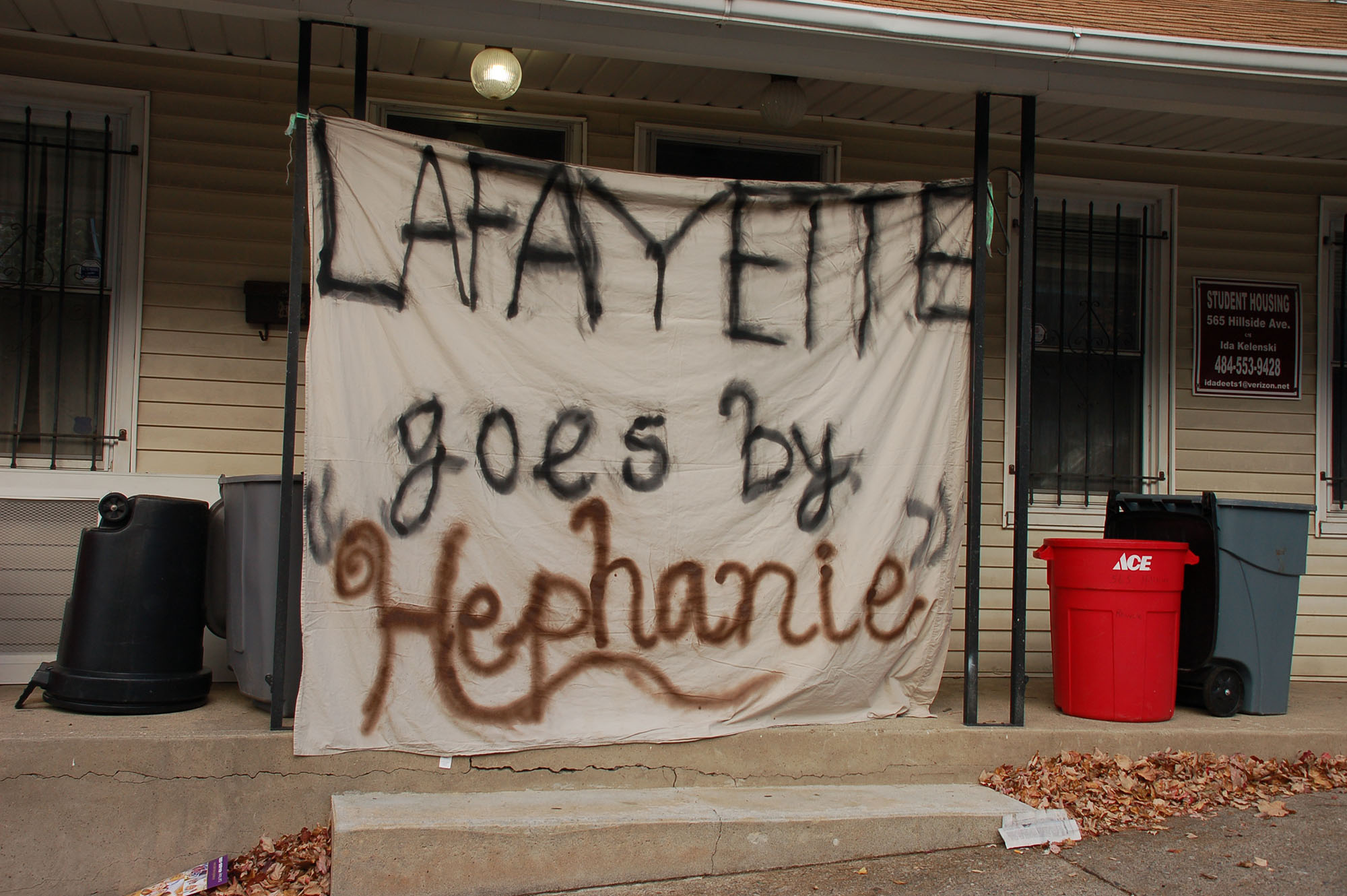 "A sign reading ""Lafayette goes by 'Hephanie'"" hangs on a house on Hillside Avenue on Nov. 15, 2016. Lehigh students celebrate Lehigh-Lafayette week in the days leading up to the rivalry football game. (Samantha Tomaszewski/B&W Staff)"