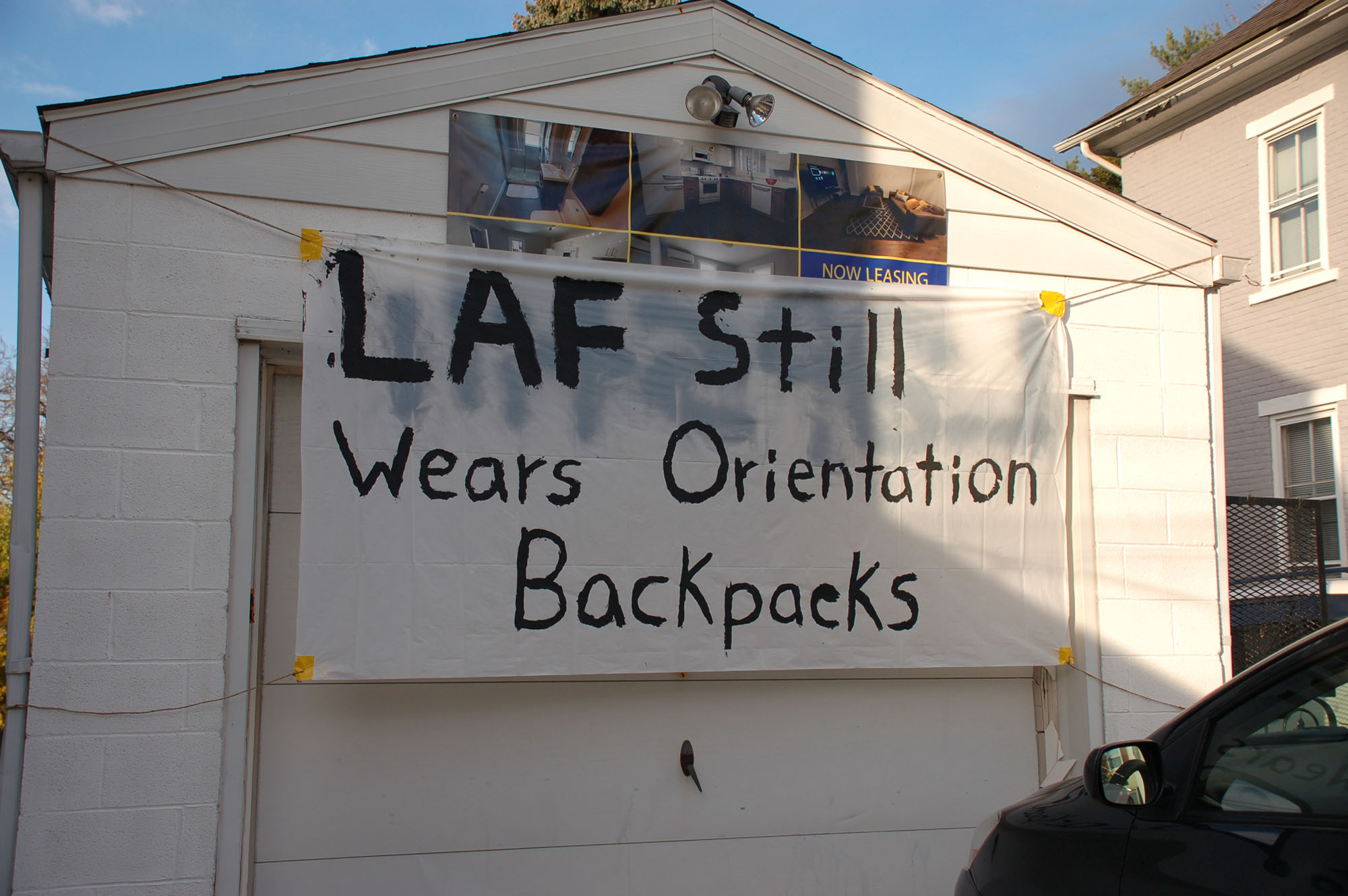 "A sign reading ""Laf still wears orientation backpacks"" hangs on a house on Van Buren Street on Nov. 15, 2016. Lehigh students make signs such as this one and hang them on their homes. (Samantha Tomaszewski/B&W Staff)"