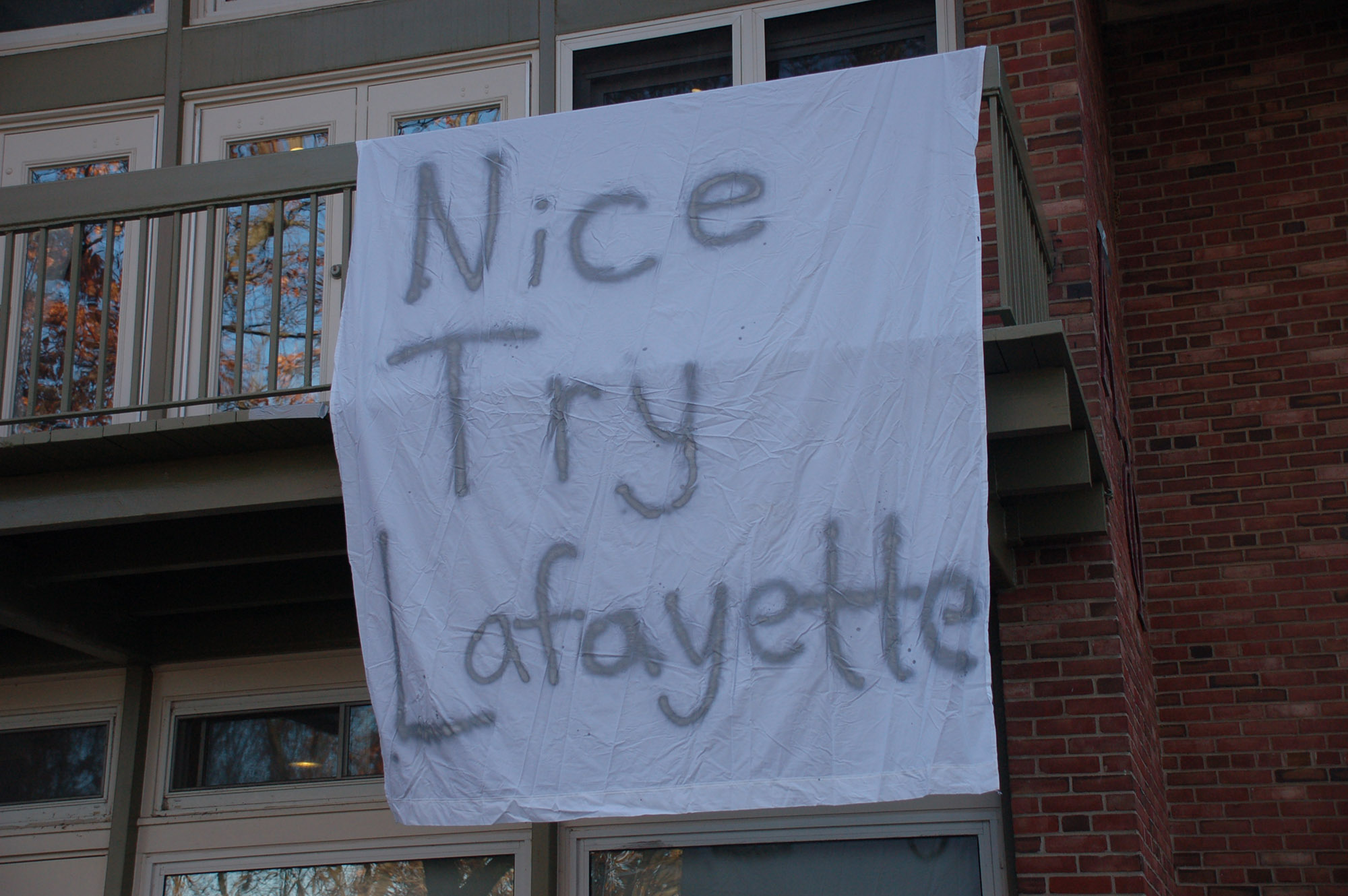 "A sign reading ""Nice try Lafayette"" hangs on Alpha Phi on Nov. 18, 2016. Lehigh students have been hanging signs all over campus making fun of their rival college. (Gaby Morera/B&W Staff)"