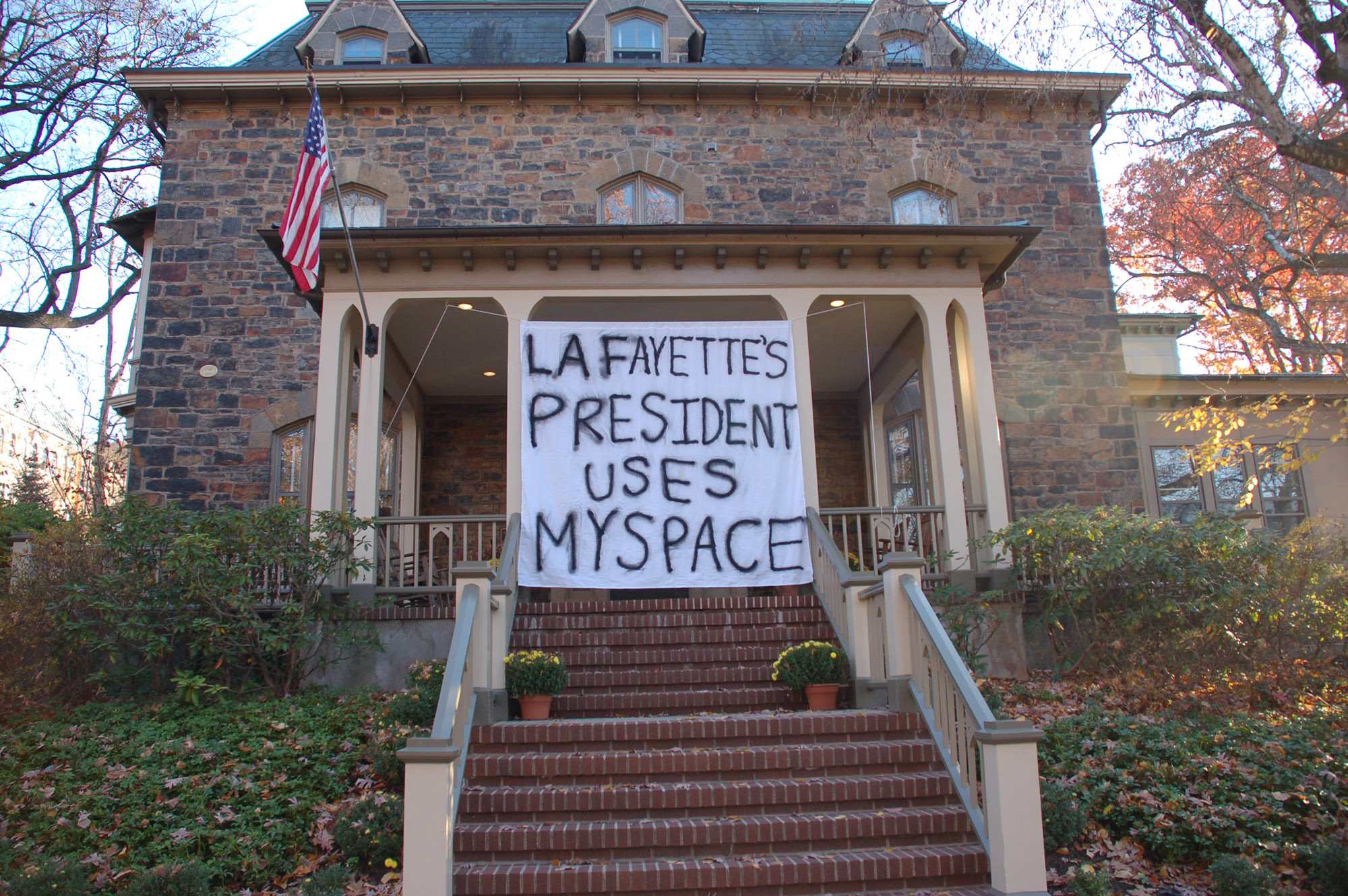 "A sign reading ""Lafayette's president uses MySpace"" hangs on President John Simon's house on Nov. 18, 2016. Lehigh's president uses Instagram to share his campus experiences with the student body. (Gaby Morera/B&W Staff)"