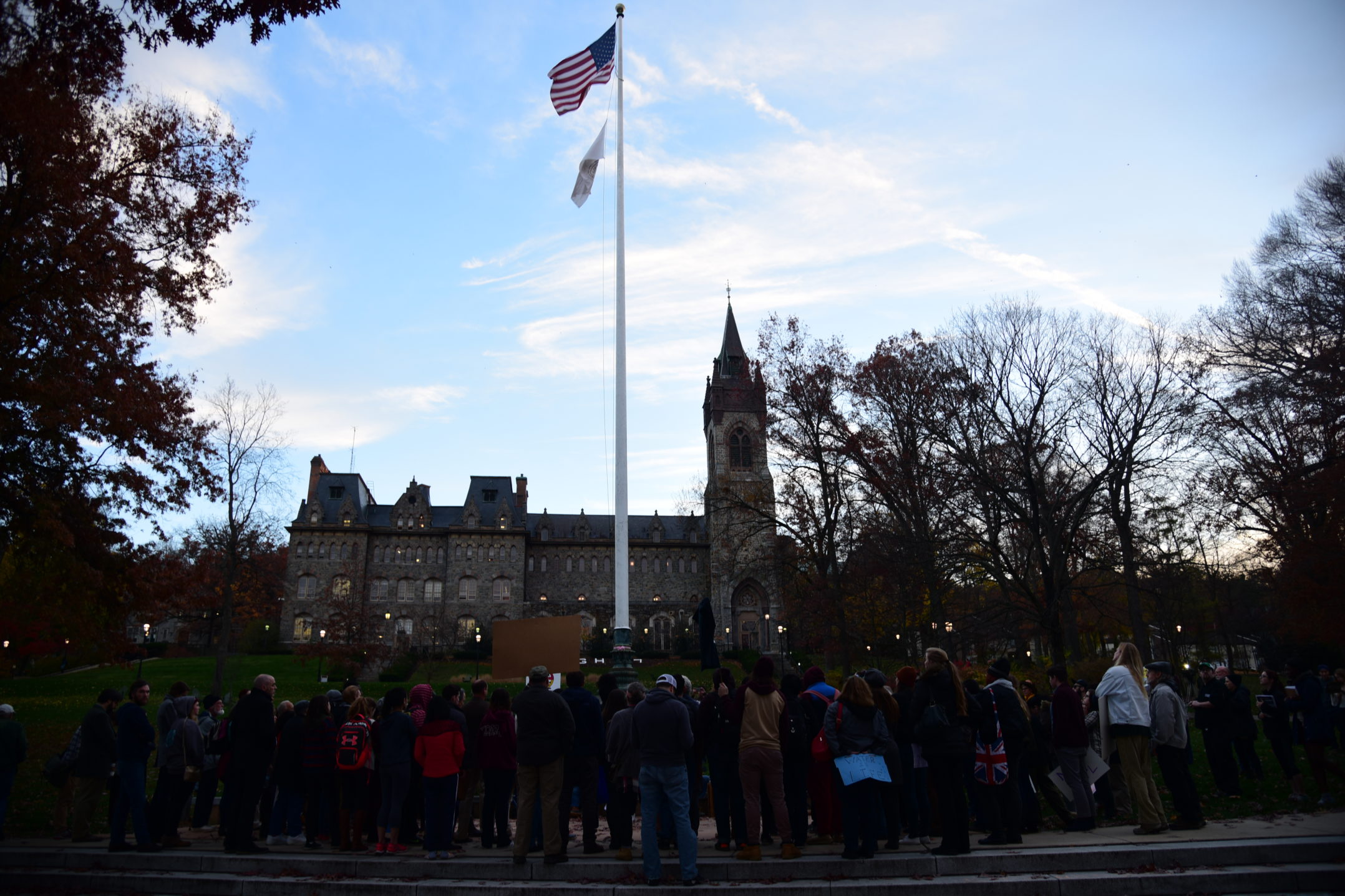 Members of Lehigh University and Bethlehem community gather at the flagpole in protest against the construction of the Dakota Access Pipeline. The protest was organized by the Green Action Club and the Black Student Union. (Ashley Omoma/B&W Staff)