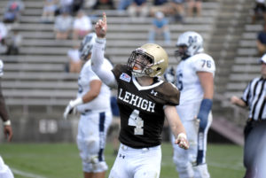 Senoir linebacker Evan Harvey points to the sky after making a tackle during Lehigh's game against Monmouth University on Saturday, September 3, 2016 at Goodman Stadium. Harevy had eight tackles during the game. (Erik Thomas/B&W Photo)