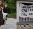 """LEFT: Devon Gallagher, '16, holds up her graduation cap in June 2016, poking fun at her prosthetic leg. RIGHT: A sign reading """"Lafayette can't read this sign"""" hangs on a house on Webster Street on Nov. 15, 2016. (Courtesy of Devon Gallagher's Instagram, Samantha Tomaszewski/B&W Staff)"""