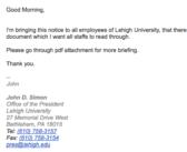 Fake email sent to Lehigh community from account pretending to be President John Simon