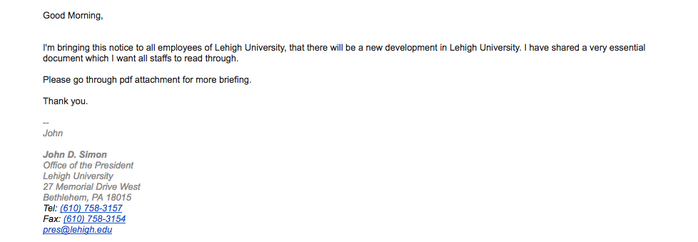 Fake email sent to Lehigh community from account pretending to be