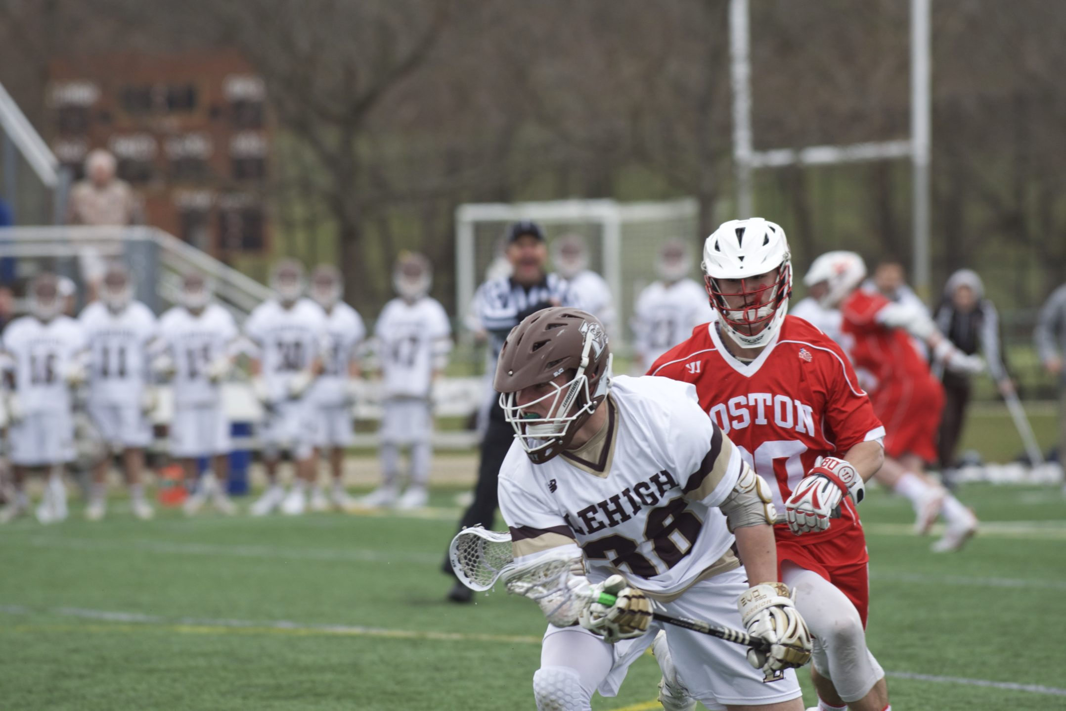 Lehigh freshman midfielder Conor Gaffney picks up a ground ball during the men's lacrosse game versus Boston University on Saturday, April 1, 2017, at the Ulrich Sports Complex. Gaffney has 71 ground balls so far this season. (Sarah Epstein/B&W Staff)