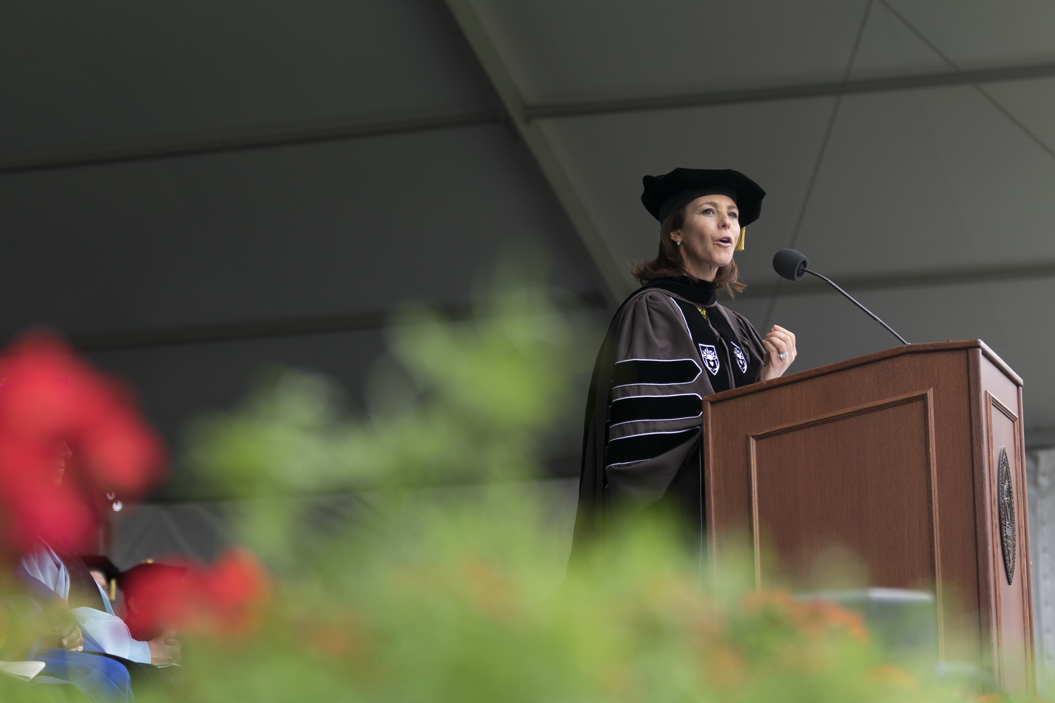 Stephanie Ruhle, '97, delivers her commencement speech Monday, May 22, 2017, in Goodman Stadium. Ruhle is an anchor at MSNBC and a correspondant for NBC News. (Roshan Giyanani/B&W Staff)