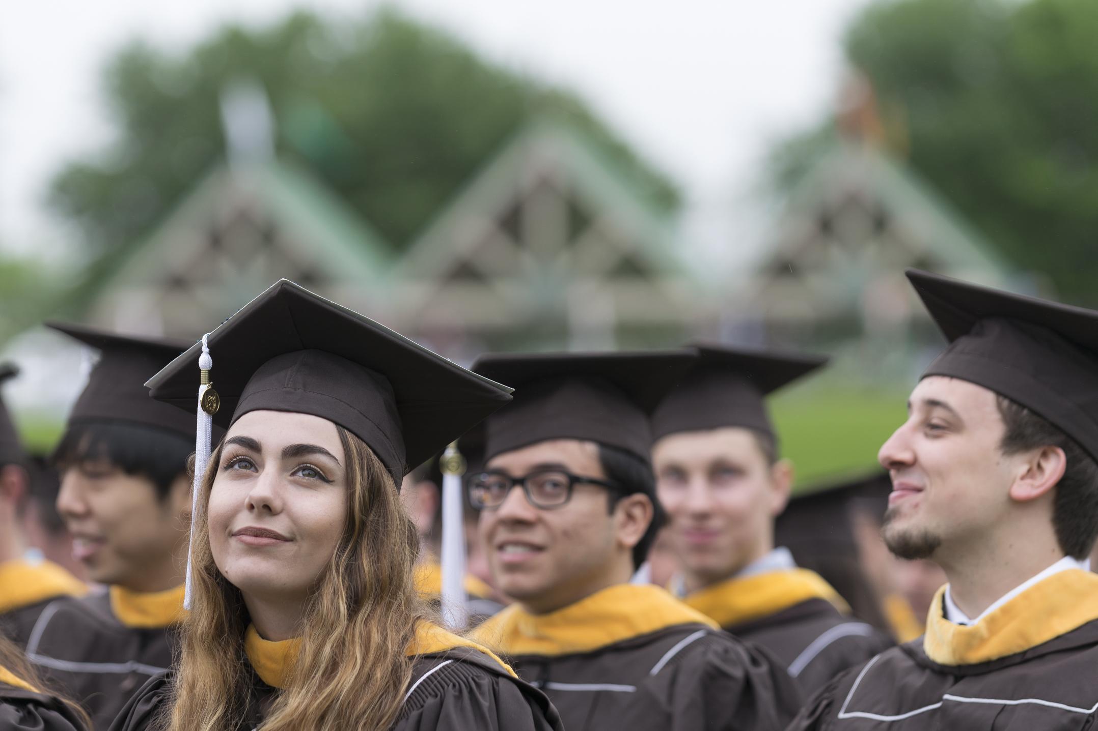 Danielle Klein, '17, looks up Monday, May 22, 2017, in Goodman Stadium. Klein is a bioengineering graduate. (Roshan Giyanani/B&W Staff)