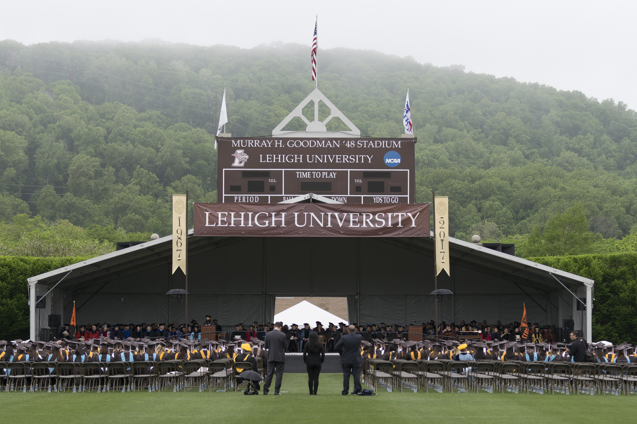Stephanie Ruhle, '97, addresses the graduating class Monday, May 22, 2017, in Goodman Stadium. Ruhle admitted to struggling as an undergraduate student, but 20 years later, she encouraged the class of 2017 to appreciate the opportunities Lehigh provides. (Roshan Giyanani/B&W Staff)