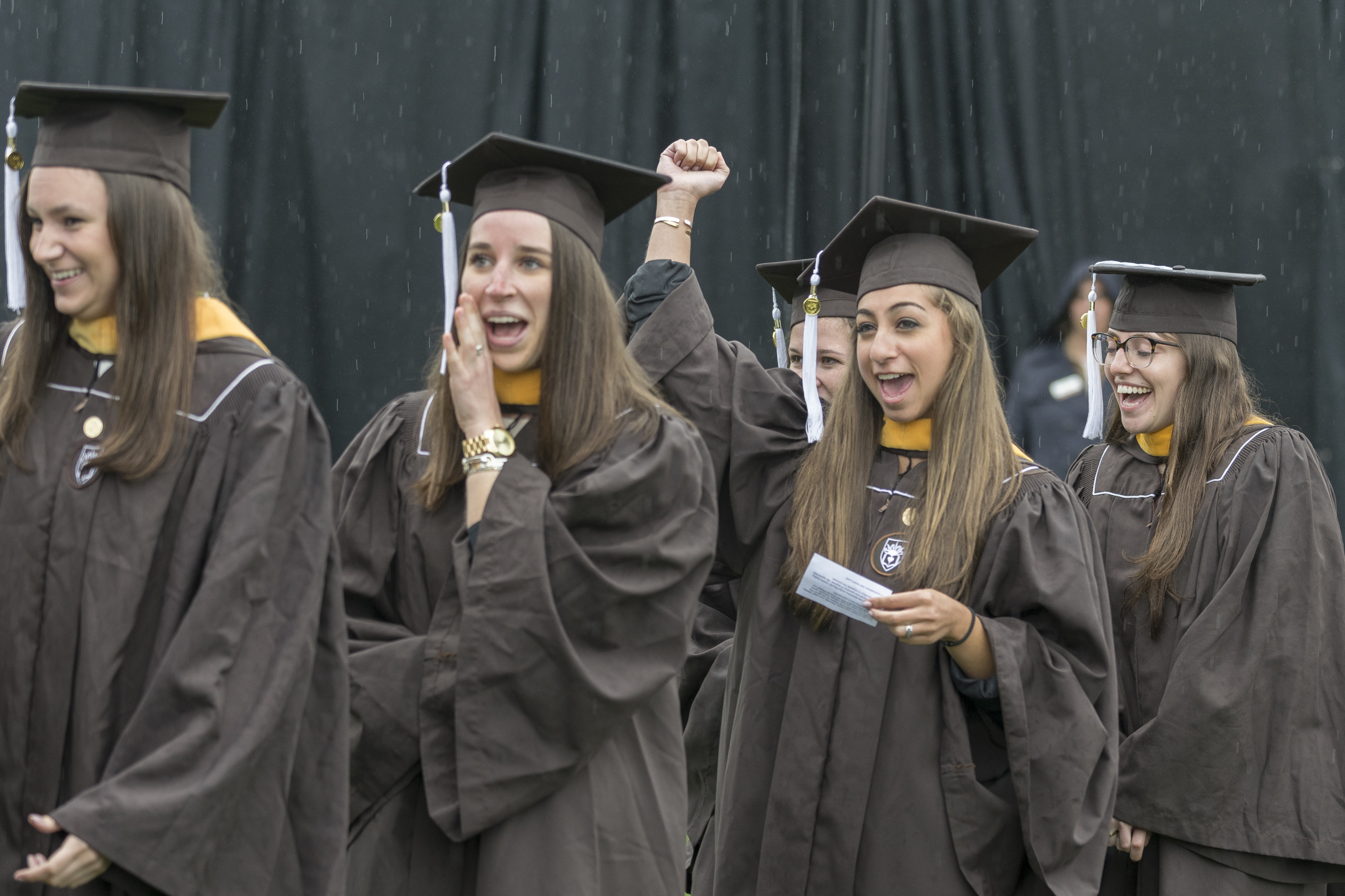 Graduates cheer for their friends Monday, May 22, 2017, in Goodman Stadium. There were 1,480 graduates in the class of 2017, hailing from 41 states and 28 countries. (Roshan Giyanani/B&W Staff)