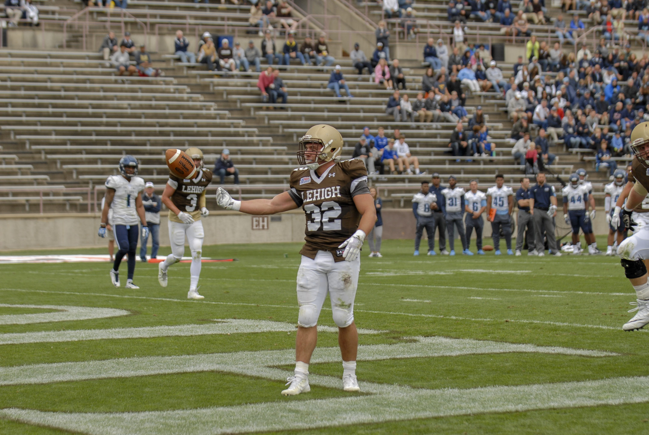 Lehigh Mountain Hawks junior running back Dominick Bragalone celebrates his rushing touchdown during Lehigh's loss against Villanova on Saturday, Sept. 2, 2017 at Goodman Stadium. Bragalone ran for 82 yards and one touchdown. (Andy Bickel/B&W Staff)