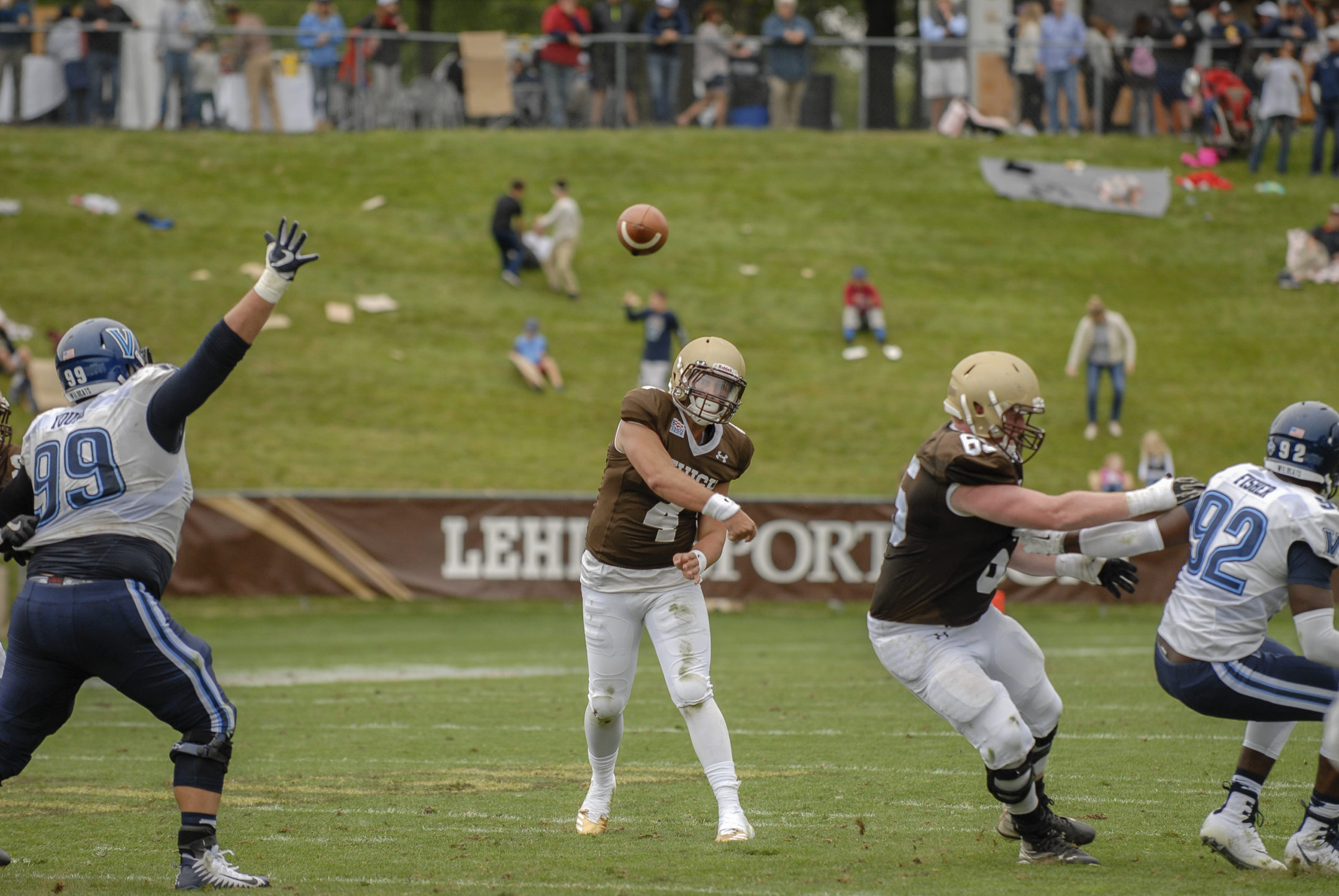 Lehigh junior quarterback Brad Mayes throws the football during Lehigh's loss against Villanova on Saturday, Sept. 2, 2017 at Goodman Stadium. Mayes had 39 passing attempts with 33 completions totaling 406 yards and 4 touchdowns. (Andy Bickel/B&W Staff)