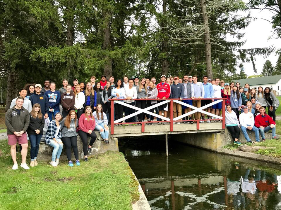 "Members of the Lehigh Greek councils and chapter presidents attend the Pocono Springs Camp on Saturday, Sept. 9, 2017. These students attend ""Base Camp"" to facilitate discussion about change in the Greek community. (Courtesy of Madison Hirsh)"