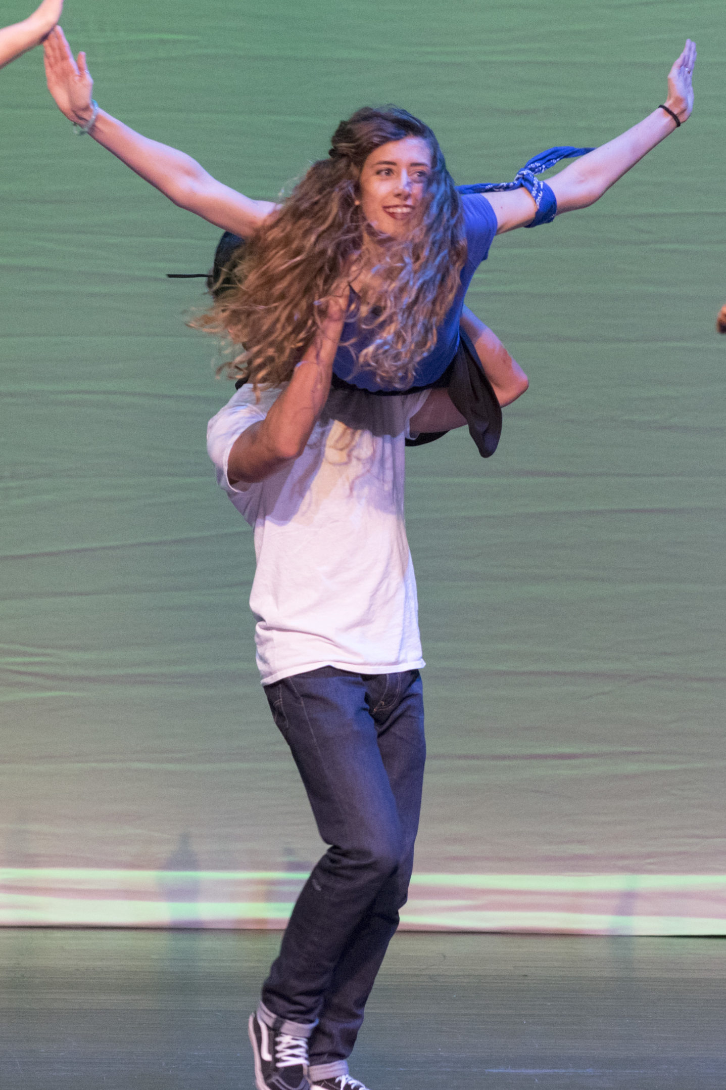 Daniel Moncada, '18, lifts Mikayla Cleary-Hammarstedt, '18, at FUSION on Thursday, Nov. 12, 2017, in Zoellner Arts Center. Moncada and Hammarstedt performed with the Latin Dance Club. (Roshan Giyanani/B&W Staff)