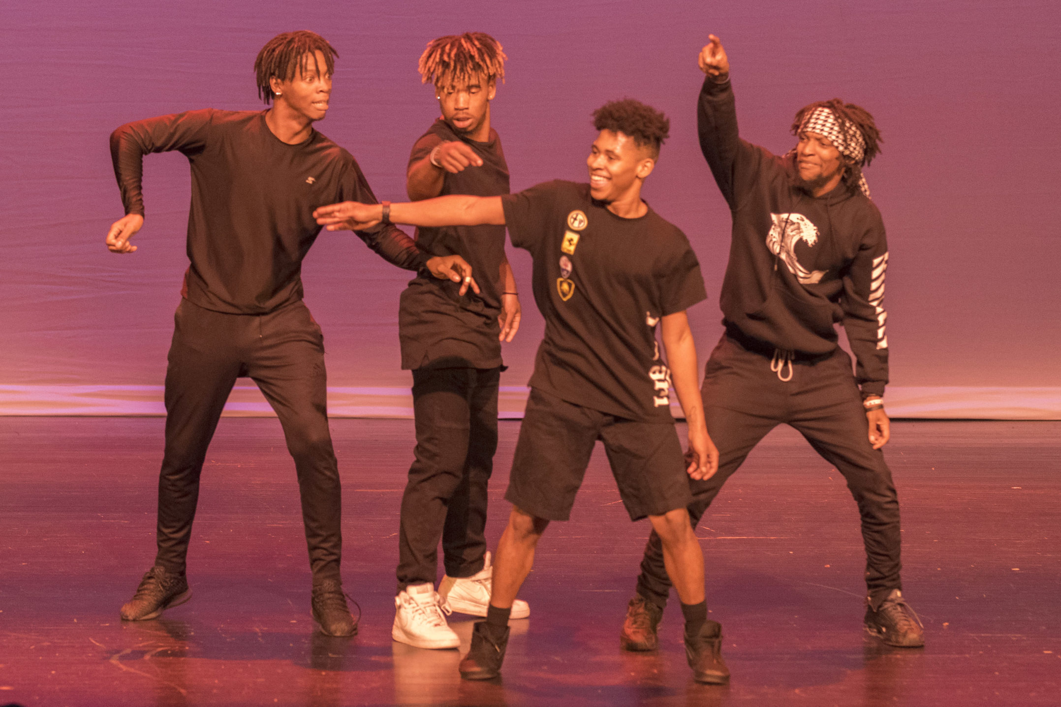 Members of Overdoze showcase their dance moves Thursday, Nov. 12, 2017, in Zoellner Arts Center. FUSION stands for Fostering Unity Staged in One Night. (Roshan Giyanani/B&W Staff)