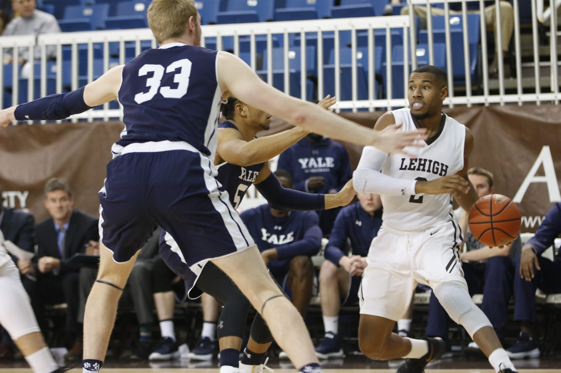 Junior guard Kyle Leufroy looks to get a pass through freshman forward Wyatt Yess and the Yale defense in their matchup on Dec. 6th, 2017 at Stabler Arena. Lehigh would lose the game 86-77 (Matt Bonshak/B&W Staff).