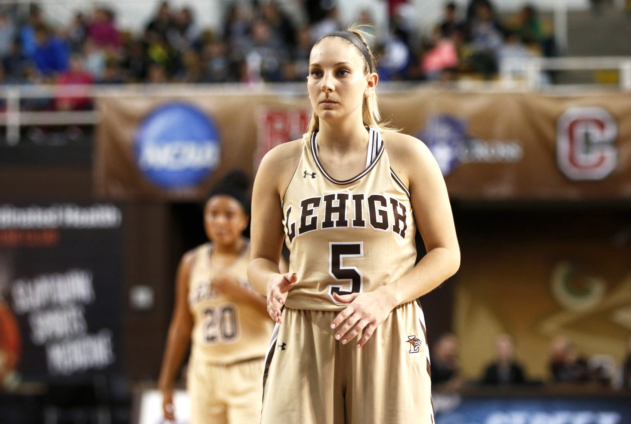 Senior guard Bernadette Devaney prepares for a free throw shot at Stabler Arena Wednesday morning. Lehigh hosted Education Day and invited surrounding school districts to the women's basketball game. (Michelle Wolff/B&W Staff)