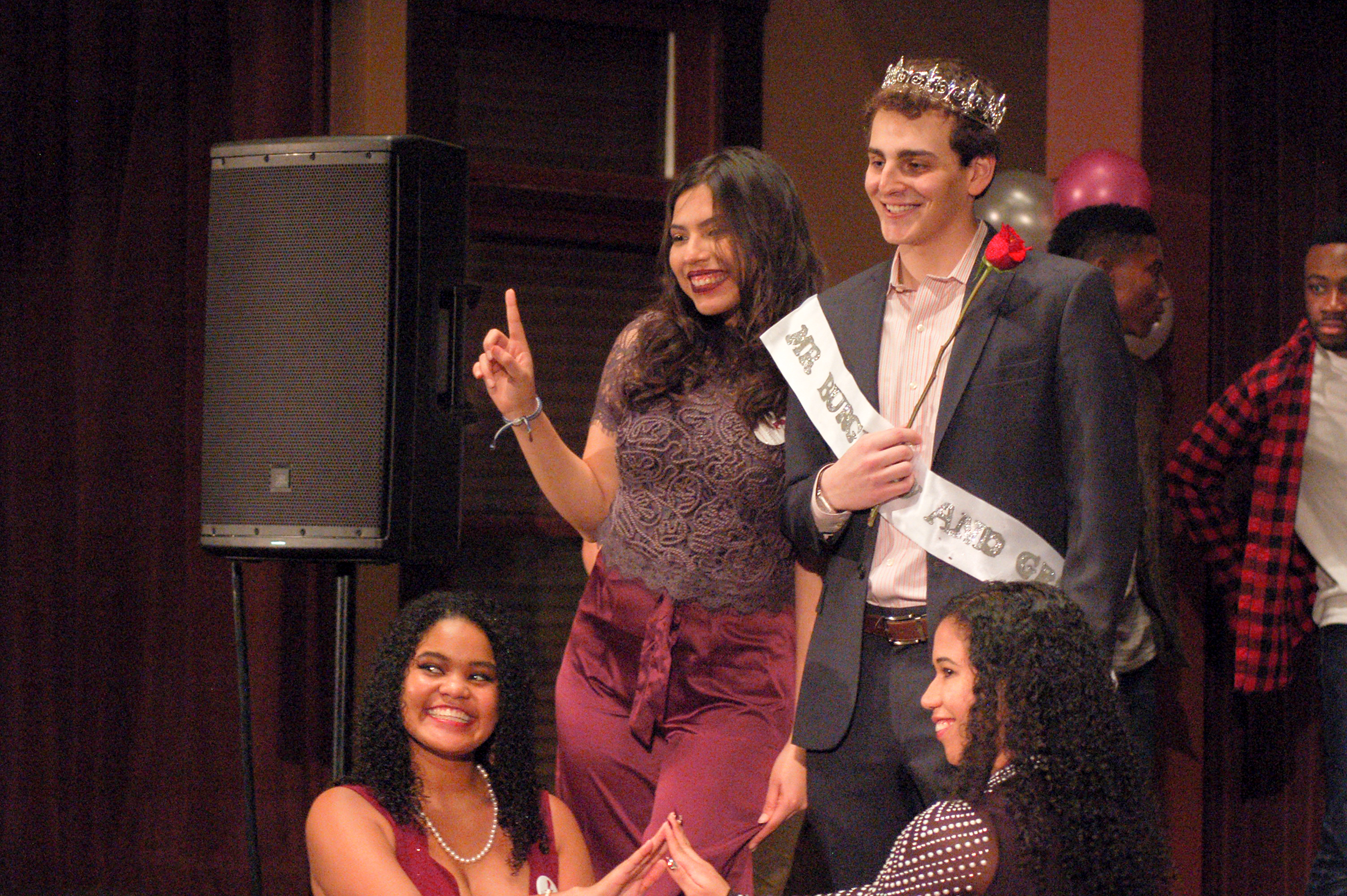Ian Davis, '18, was awarded the Mr. Burgundy and Grey crown at the Mr. Burgundy and Grey event on Saturday, Dec. 2, 2017, in Lamberton Hall. Proceeds from the event go to St. Jude's Children's Research Hospital. (Alice Wilson/B&W Staff)
